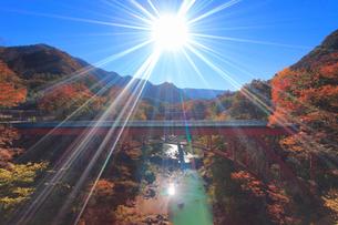 紅葉の吾妻渓谷と千歳新橋と太陽の光芒,上流方向を望むの写真素材 [FYI02825801]