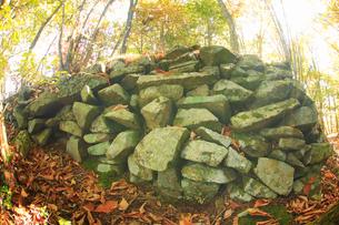 女神岳城跡の石垣,魚眼の写真素材 [FYI02825849]