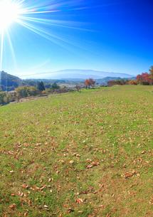 真田氏本城跡の芝生と太陽の光芒の写真素材 [FYI02826136]