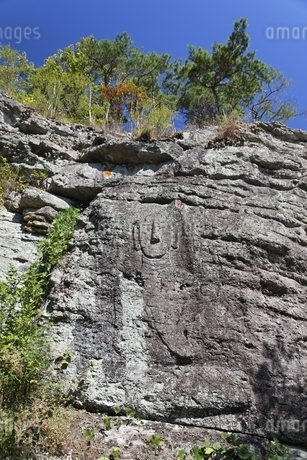 seated Buddha carved on rock, Unjusa Temple, Jeollanam-doの写真素材 [FYI02826502]