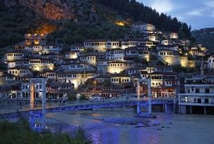 Mangalem Neighborhood, houses, Osumi river, bridgeの写真素材 [FYI02826710]