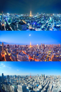 東京タワーとビル群,夜景と朝の月と昼の写真素材 [FYI02826772]