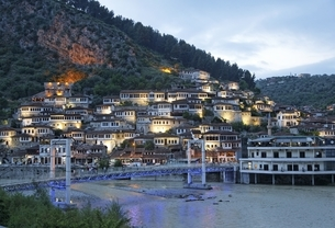 Mangalem Neighborhood, houses, Osumi river, bridgeの写真素材 [FYI02826831]