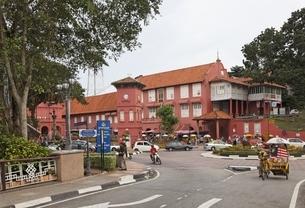 Clock Tower, Stadthuys, Dutch Square, Malacca, Malaysiaの写真素材 [FYI02827276]