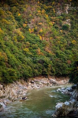 秋の桂川保津川下りの写真素材 [FYI02827638]