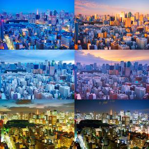 明石町から望む西南西方向のビル群と東京タワーの一日の写真素材 [FYI02827934]
