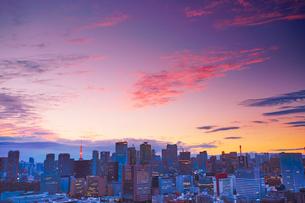 明石町から望む西方向のビル群と東京タワーと夕焼けの写真素材 [FYI02827954]