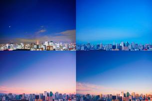 明石町から望む西南西方向のビル群と東京タワーの夜明けの写真素材 [FYI02827960]