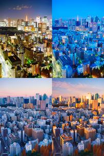 明石町から望む西南西方向のビル群と東京タワーと富士山の夜明けの写真素材 [FYI02828019]