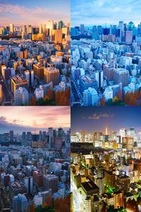 明石町から望む西南西方向のビル群と東京タワーの一日の写真素材 [FYI02828088]