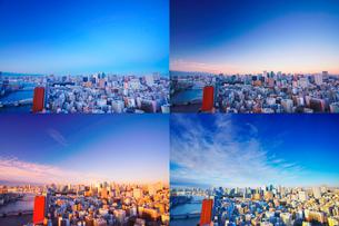 明石町から望む西南西方向のビル群と隅田川の夜明けの写真素材 [FYI02828272]