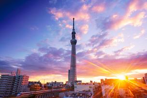 東京スカイツリーと東武スカイツリーラインと朝日の写真素材 [FYI02828301]