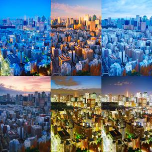 明石町から望む西南西方向のビル群と東京タワーの一日の写真素材 [FYI02828459]