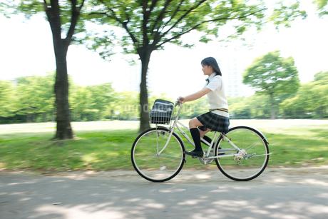 自転車の夏服女子高生の写真素材 [FYI02828572]