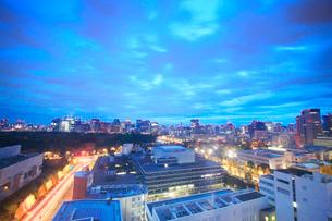 黎明の皇居と都心のビル群と国会議事堂の写真素材 [FYI02829081]
