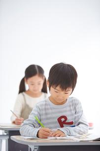 授業中の小学生低学年男女の写真素材 [FYI02829342]