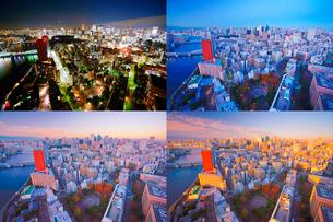 明石町から望む西南西方向のビル群と東京タワーと隅田川の夜明けの写真素材 [FYI02829662]