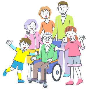 イラスト 車椅子の老人の三世代家族のイラスト素材 [FYI02830103]