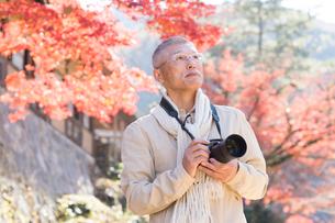 紅葉をカメラで撮影する中年男性の写真素材 [FYI02830195]