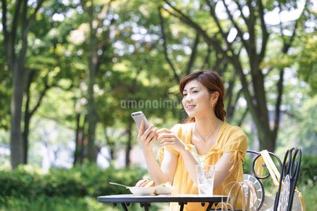 カフェでスマホを見てランチする女性の写真素材 [FYI02830568]