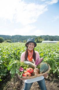 畑で収穫した野菜を見せる女性の写真素材 [FYI02830758]