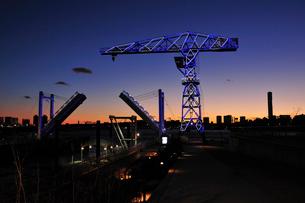 豊洲公園のクレーンと橋の写真素材 [FYI02831904]