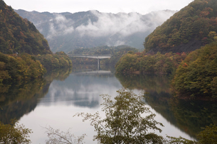東仙峡金山湖の早朝の風景の写真素材 [FYI02832667]