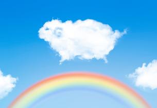 羊の形をした雲と虹のイラスト素材 [FYI02832958]