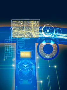 GUI空間表示制御の未来系自動車コックピットのイラスト素材 [FYI02833190]