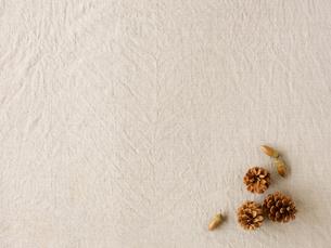 松ぼっくりとどんぐりとベージュの布の写真素材 [FYI02833734]