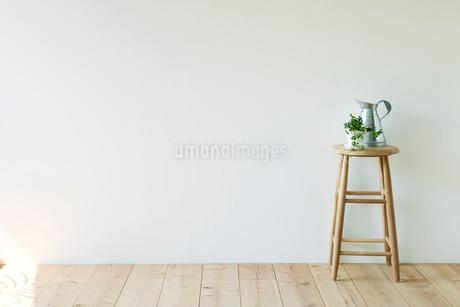 観葉植物とスツールとジョウロの写真素材 [FYI02833931]