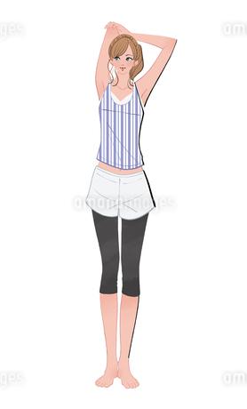 腕を上げストレッチする女の子のイラスト素材 [FYI02834441]