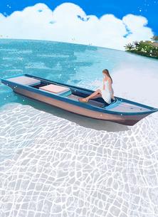 浜辺のボートに腰掛けるワンピースの女の子のイラスト素材 [FYI02834598]