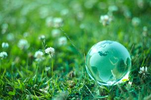 野原にあるガラスの地球の写真素材 [FYI02835186]