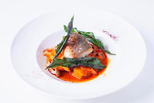 魚のポワレ トマトソースの写真素材 [FYI02835464]