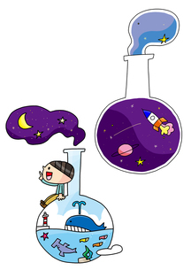 理科教室 フラスコ 未来を創造するのイラスト素材 [FYI02835550]
