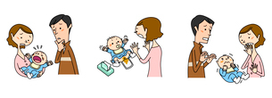 赤ちゃんの医療 泣く 下痢 ひきつけのイラスト素材 [FYI02835560]