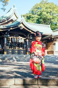 神社で笑顔を見せる着物の女の子の写真素材 [FYI02835603]
