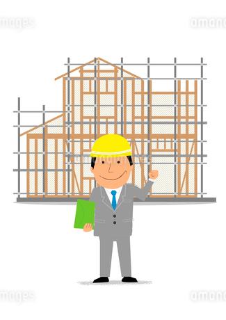 住宅建設の工事現場とビジネスマンのイラスト素材 [FYI02835621]