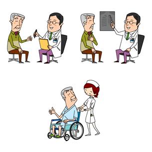 高齢男性の医療 診察とレントゲンと入院と車いすのイラスト素材 [FYI02835627]