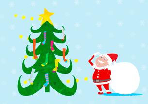 クリスマスツリーの靴下を見上げるサンタクロースのイラスト素材 [FYI02835628]