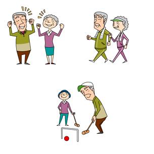 高齢者夫婦の健康 病気の回復とウォーキングとゲートボールのイラスト素材 [FYI02835651]