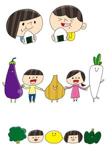 食育 おにぎりを食べる 野菜と手をつなぐ子どものイラスト素材 [FYI02835658]
