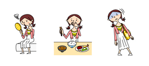 中高生女子の医療 にきび 摂食障害 めまいのイラスト素材 [FYI02835665]