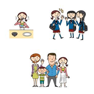 中高生女子の健康と家族と学校生活のイラスト素材 [FYI02835676]