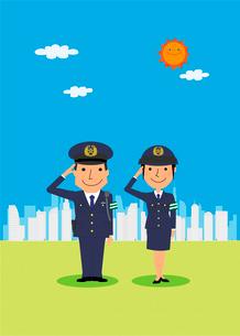 街と警察のイラスト素材 [FYI02835687]