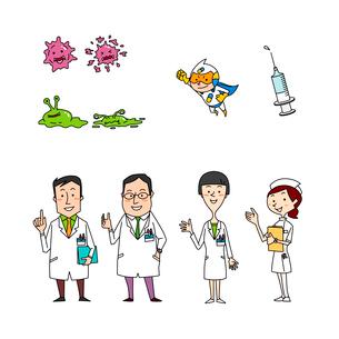 医療イメージ 医者 看護師 病原菌と薬のイラスト素材 [FYI02835689]