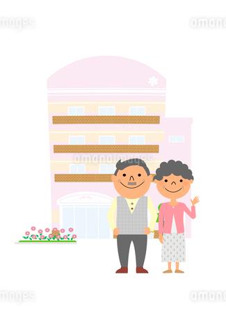 介護施設と老夫婦のイラスト素材 [FYI02835699]