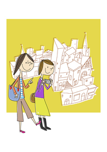 観光する女性2人と街並のイラスト素材 [FYI02835716]