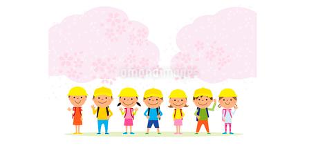 桜と小学生のイラスト素材 [FYI02835723]